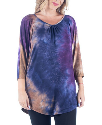 Women's Plus Size Three Quarter Sleeves Tie Dye Print Long Tunic Top 24seven Comfort Apparel