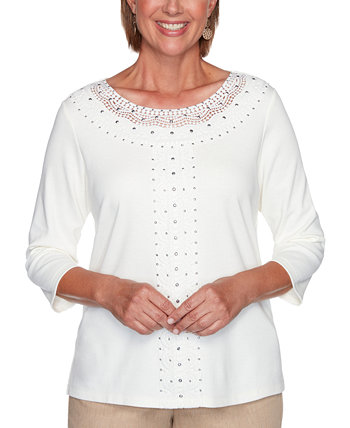 Petite Glacier Lake Solid Center Crochet Knit Top Alfred Dunner