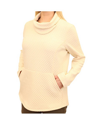 Women's Diamond Quilted Slit Cowl Neck Pullover with Diamond-Quilted Detail Mountain And Isles