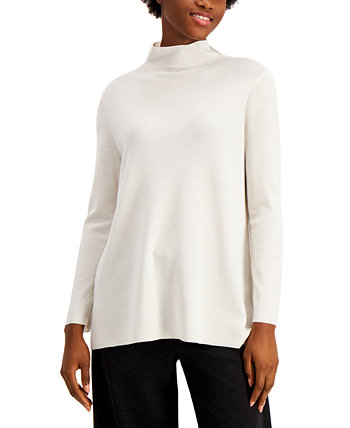 Solid Mock-Neck Asymmetrical Tunic Sweater Eileen Fisher