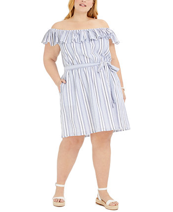 Plus Size Striped Off-The-Shoulder Dress Michael Kors