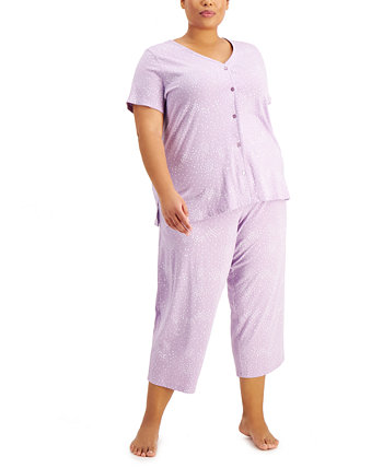 Plus Size Printed Cotton Cropped Pajama Pants Set, Created for Macy's Charter Club