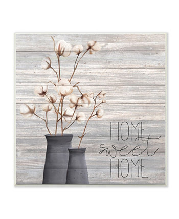 """Gray Home Sweet Home Cotton Flowers in Vase Wall Plaque Art, 12"""" L x 12"""" H Stupell Industries"""