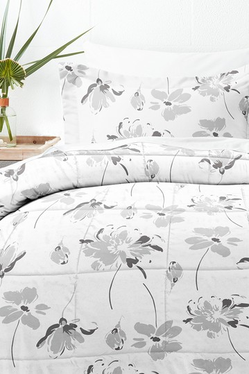 Home Collection Premium Down Alternative Magnolia Grey Patterned Comforter Set - Light Gray IENJOY HOME