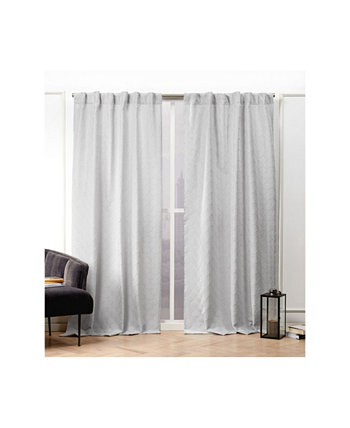 "Trellis Matelasse Hidden Tab Top Curtain Panel Pair, 54"" X 96"" Nicole Miller"