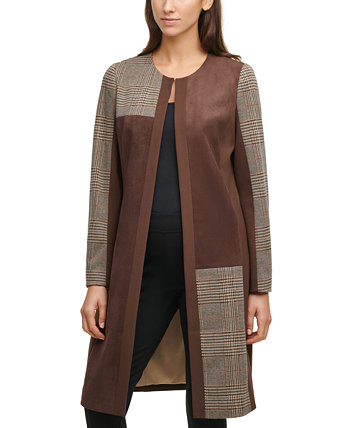 Mixed-Media Faux-Suede Plaid Topper Calvin Klein