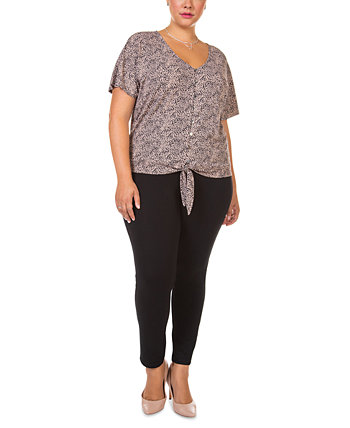 Plus Size Short-Sleeve Tie-Front Top Black Tape