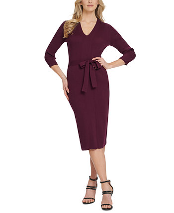 Belted V-Neck Sweater Dress DKNY