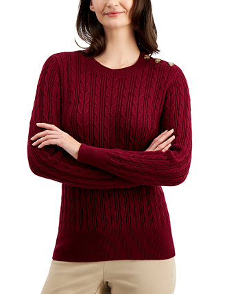 Button-Shoulder Sweater, Created for Macy's Charter Club