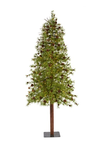 8ft. Wyoming Alpine Artificial Christmas Tree with 250 Clear (Multifunction) LED Lights and Pine Cones on Natural Trunk NEARLY NATURAL