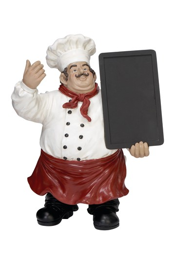 Eclectic Blackboard Bistro Chef Resin Figurine Willow Row