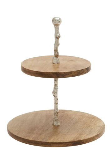 Wood Metal 2-Tier Tray Willow Row