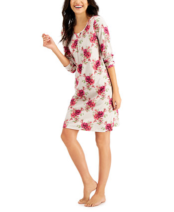 Printed Cotton Long Sleeve Nightgown, Created for Macy's Charter Club