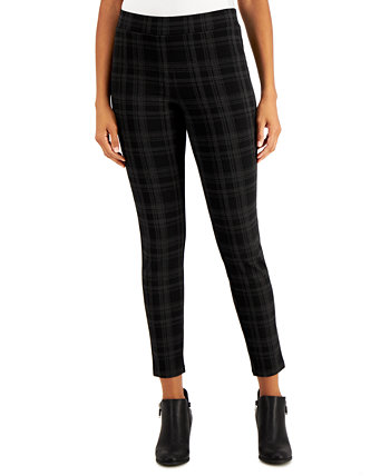 Flocked Plaid Pull-On Pants, Created for Macy's Style & Co