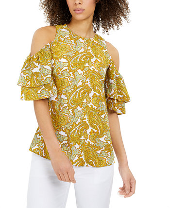 Paisley-Print Cold-Shoulder Ruffled-Sleeve Top Michael Kors