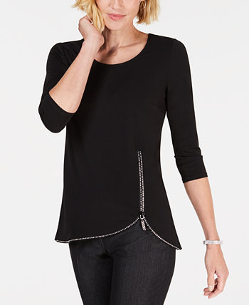 Petite Embellished-Zip Top, Created for Macy's J&M Collection