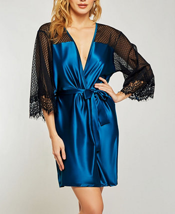 Elegant Ultra Soft Sain Lace Robe with Mesh Panels ICollection
