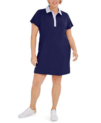 Plus Size Cornell-Trimmed Polo Dress, Created for Macy's Tommy Hilfiger