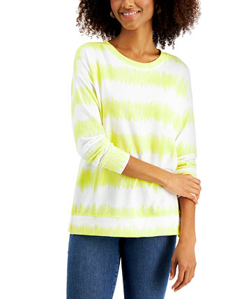 Tie-Dyed Stripe Sweatshirt, Created for Macy's Style & Co