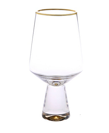 Set of 6 Water Glasses with Base and Rim Classic Touch