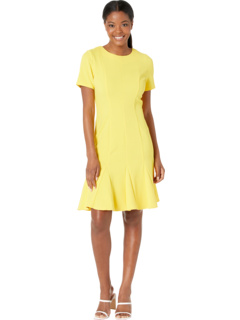 Scuba Crepe Jewel Neck Short Sleeve Fit-and-Flare London Times