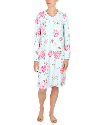 Plus Size Printed Brushed Waffle Knit Nightgown Miss Elaine