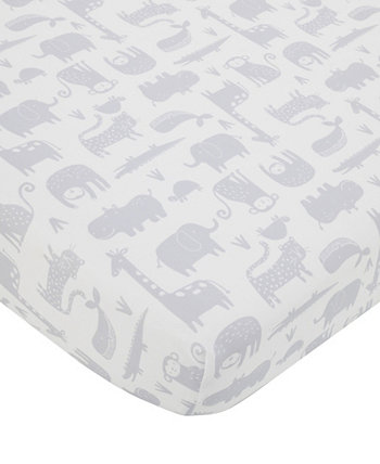 Modern Jungle Pals Multi Animal Fitted Crib Sheet Carters