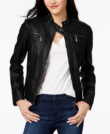 Juniors' Faux-Fur-Lined Moto Jacket Jou Jou