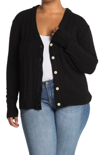 V-Neck Button Front Ribbed Cardigan (Plus Size) Sweet Romeo