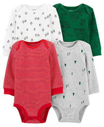 Carters Baby Boy 4-Pack Holiday Original Bodysuits Carters