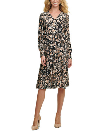 Floral Smocked-Sleeve Fit & Flare Dress Tommy Hilfiger
