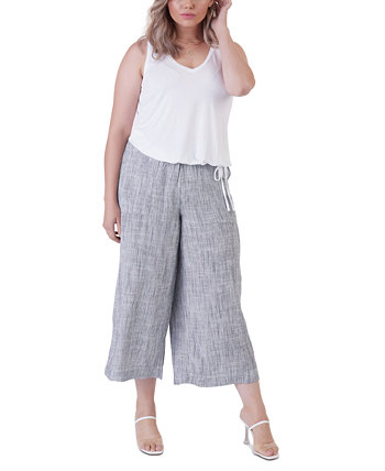 Plus Size Cropped Wide-Leg Pants Black Tape