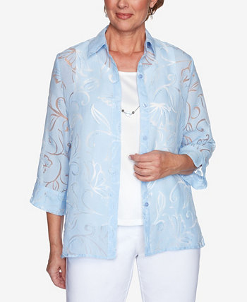 Plus Size Classics S1 Burnout Floral Two for One Top Alfred Dunner