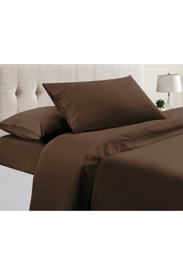 Manor Ridge Luxury 100 GSM Brushed Microfiber Extra Soft Hypoallergenic 4-Piece Double Marrow Hem Sheet Set, Chocolate - King Modern Threads