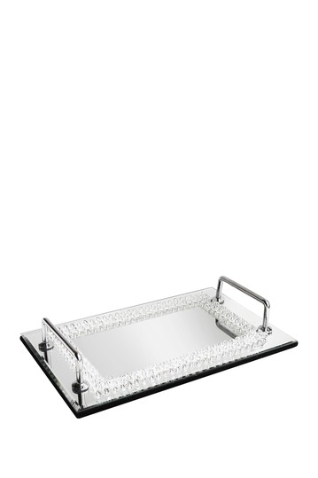 Beads Decorative Mirror Tray with Handles Jay Import