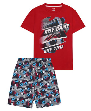Little Boys Sports Theme 2 Piece Short Pajama Set Max & Olivia