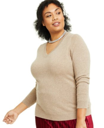 Plus Size Cashmere-Metallic V-Neck Sweater, Created for Macy's Charter Club