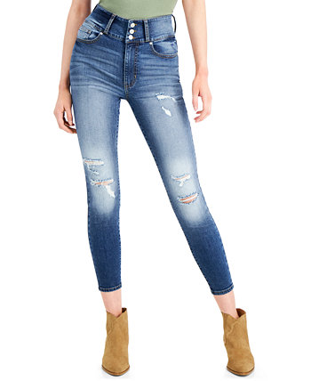 Juniors' High-Waist Curvy 3-Button Skinny Ankle Jeans Celebrity Pink