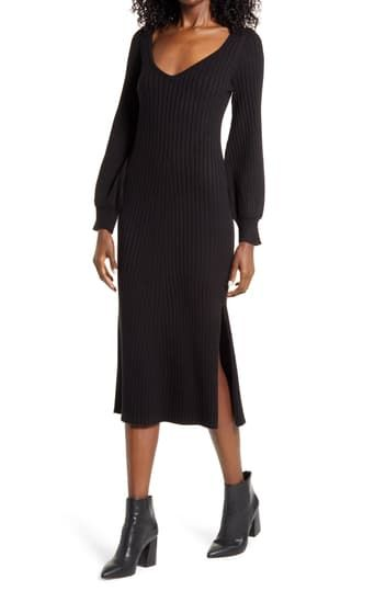 Ribbed Body-Con Sweater Dress Charles Henry