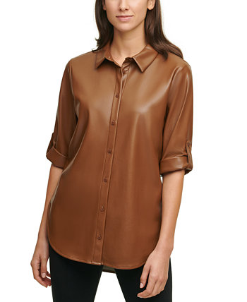 Faux-Leather Tunic Top Calvin Klein