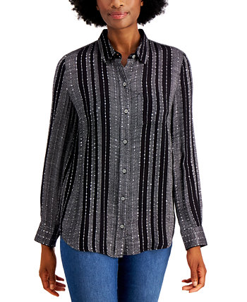Petite Sparkle Striped Shirt, Created for Macy's Style & Co