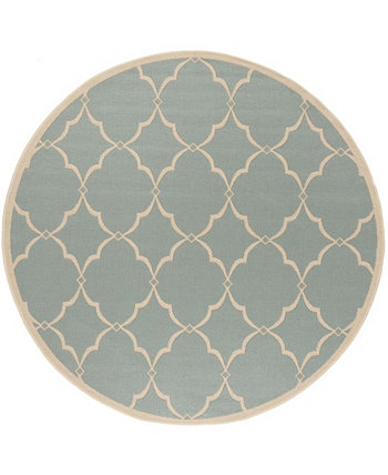 "Linden Aqua and Cream 6'7"" x 6'7"" Round Area Rug Safavieh"