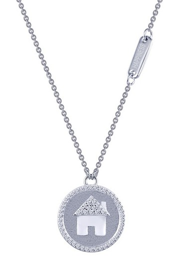 Platinum Plated Sterling Silver Micro Pave Simulated Diamond House Necklace LaFonn
