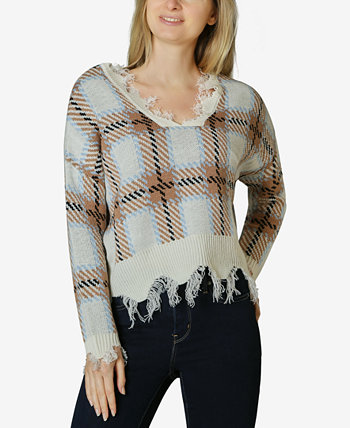 Distressed Plaid V-Neck Sweater Polly & Esther