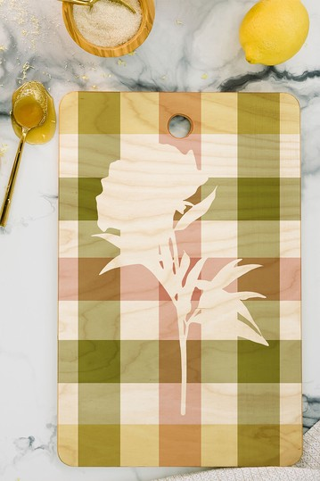 Lisa Argyropoulos Peony Harvest Plaid Rectangle Cutting Board Deny Designs