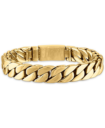 Curb Link Chain Bracelet in Gold-Tone Ion-Plated Stainless Steel, Created for Macy's Esquire Men's Jewelry