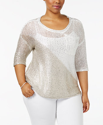 Plus Size Colorblocked Sequin-Knit Sweater Belldini