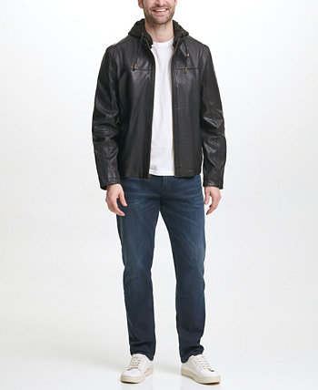 Men's Washed Leather Motorcycle Jacket with Jersey Knit Hood Cole Haan