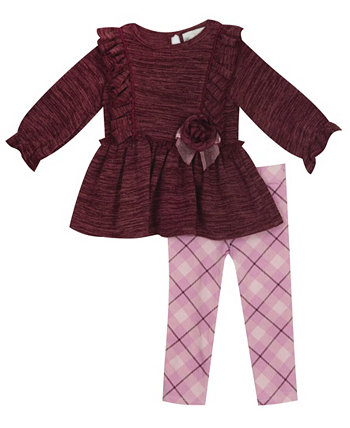 Toddler Girl Knit Legging Set With Ruffle Detail And Printed Legging Set Rare Editions