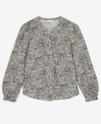 Cotton Animal-Print Pintuck Blouse Lucky Brand